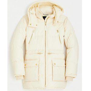 J. Crew Chateau Puffer Jacket Cream NWT L